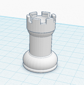 3d model of rook in tinkercad
