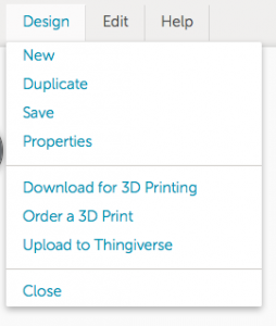 tinkercad design menu, illustrating where download for 3d printing button resides