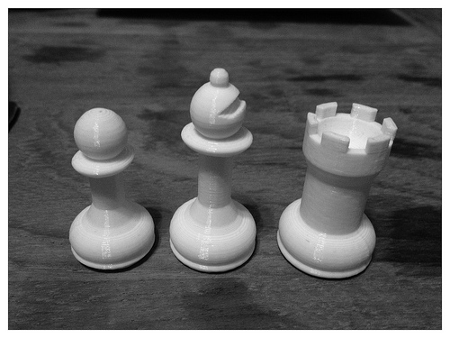 chess pieces which were designed in tinkercad and subsequently 3d printed