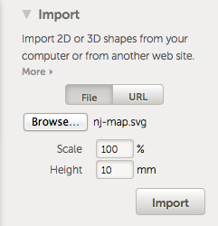 TinkerCad import menu